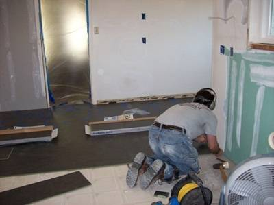 Install Kitchen Flooring & Baseboards